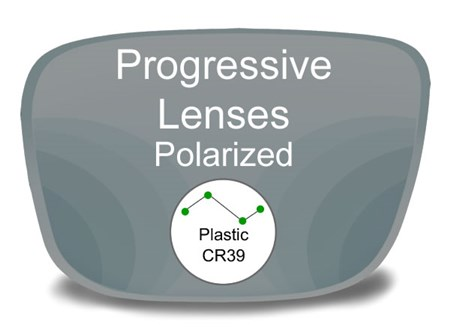 Progressive (no-line) Plastic Polarized Prescription Eyeglass Lenses