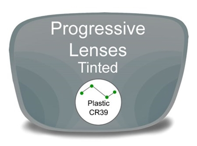 Progressive (no-line) Plastic Tinted Prescription Eyeglass Lenses