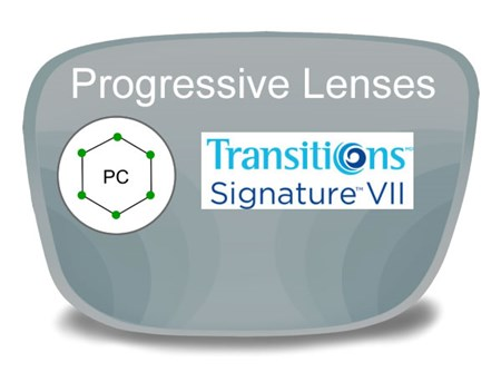 Progressive (no-line) Polycarbonate Transitions VI Prescription Eyeglass Lenses