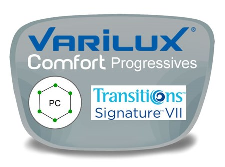 Varilux Comfort 2 Progressive (no-line) Polycarbonate Transitions VI Prescription Eyeglass Lenses
