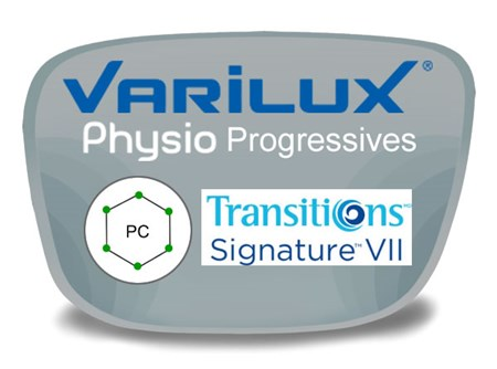 Varilux Physio Progressive (no-line) Polycarbonate Transitions VI Prescription Eyeglass Lenses