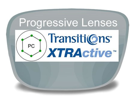 Progressive (no-line) Polycarbonate Transitions XTRActive Prescription Eyeglass Lenses