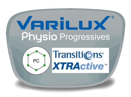 Varilux Physio Progressive (no-line) Polycarbonate Transitions XTRActive Prescription Eyeglass Lenses
