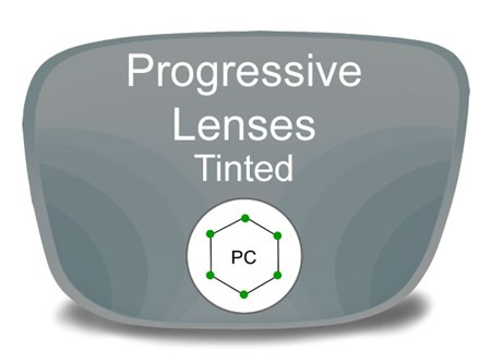 Progressive (no-line) Polycarbonate Tinted Prescription Eyeglass Lenses
