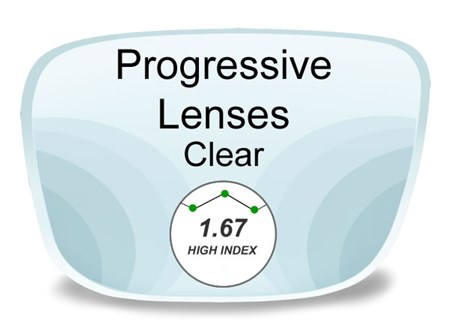 Progressive (no-line) High Index 1.67 Prescription Eyeglass Lenses