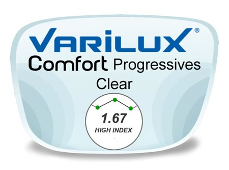 Varilux Comfort 2 Progressive (no-line) High Index 1.67 Prescription Eyeglass Lenses