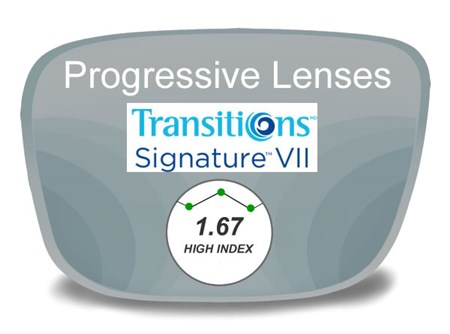 Progressive (no-line) High Index 1.67 Transitions VI Prescription Eyeglass Lenses