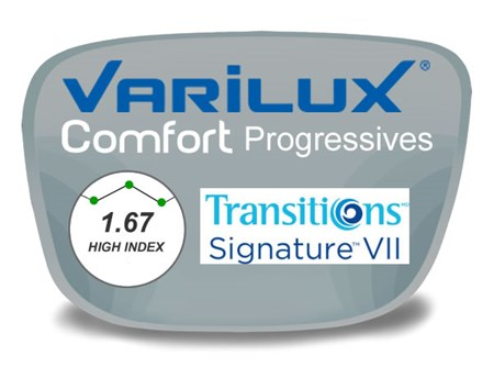 Varilux Comfort 2 Progressive (no-line) High Index 1.67 Transitions VI Prescription Eyeglass Lenses
