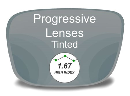 Progressive (no-line) High Index 1.67 Tinted Prescription Eyeglass Lenses