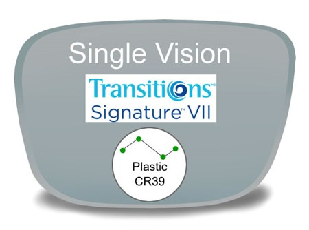 Single Vision Plastic Transitions VI Prescription Eyeglass Lenses