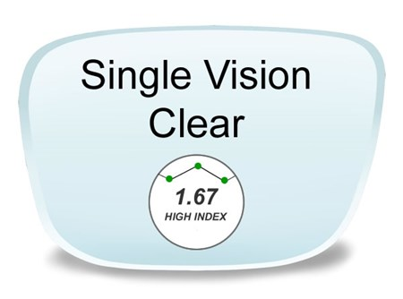Single Vision High Index 1.67 Prescription Eyeglass Lenses