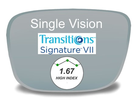 Single Vision High Index 1.67 Transitions VI Prescription Eyeglass Lenses