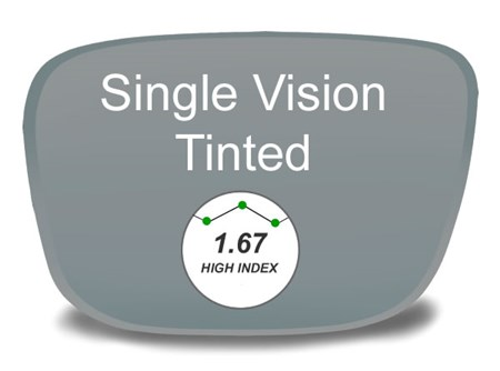 Single Vision High Index 1.67 Tinted Prescription Eyeglass Lenses