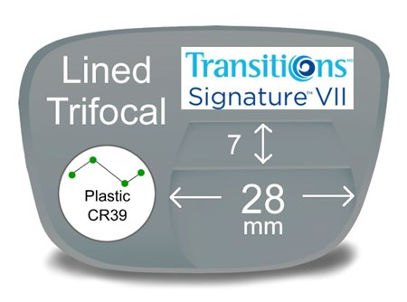 Lined Trifocal 7x28 Plastic Transitions VI Prescription Eyeglass Lenses
