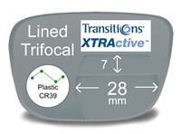 Lined Trifocal 7x28 Plastic Transitions XTRActive Prescription Eyeglass Lenses