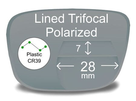Lined Trifocal 7x28 Plastic Polarized Prescription Eyeglass Lenses