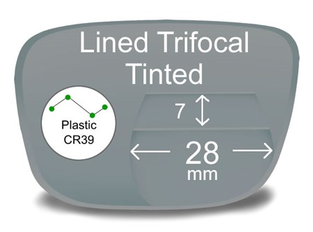 Lined Trifocal 7x28 Plastic Tinted Prescription Eyeglass Lenses