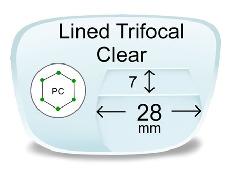 Lined Trifocal 7x28 Polycarbonate Prescription Eyeglass Lenses