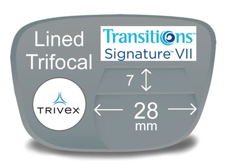 Lined Trifocal 7x28 Trivex Transitions VI Prescription Eyeglass Lenses