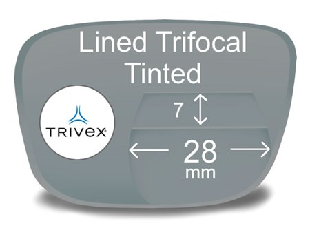 Lined Trifocal 7x28 Trivex Tinted Prescription Eyeglass Lenses