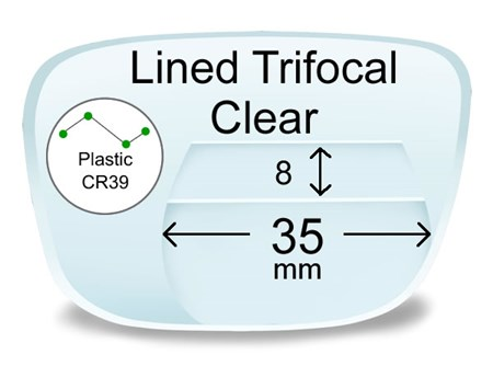 Lined Trifocal 8x35 Plastic Prescription Eyeglass Lenses