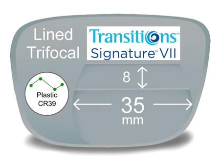 Lined Trifocal 8x35 Plastic Transitions VI Prescription Eyeglass Lenses