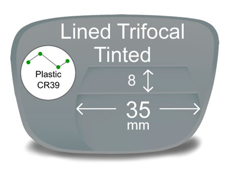 Lined Trifocal 8x35 Plastic Tinted Prescription Eyeglass Lenses