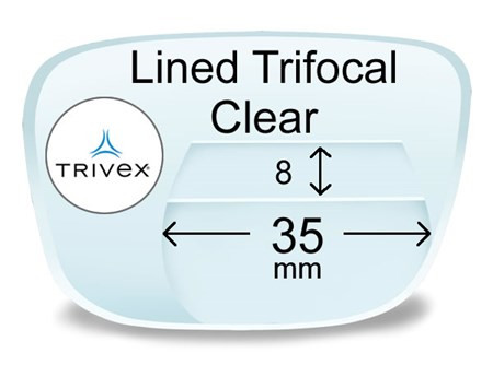 Lined Trifocal 8x35 Trivex Prescription Eyeglass Lenses