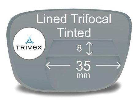 Lined Trifocal 8x35 Trivex Tinted Prescription Eyeglass Lenses
