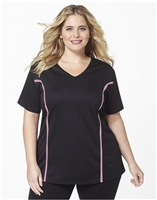 Plus Size AirLight Sport Tee - Black with Pink Stripe