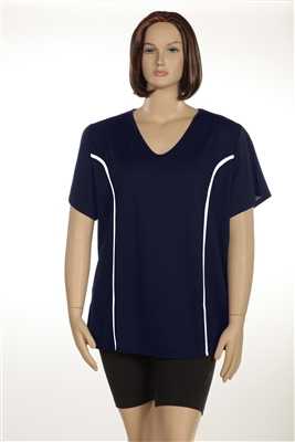 Plus Size AirLight Sport Tee - Navy with White Stripe