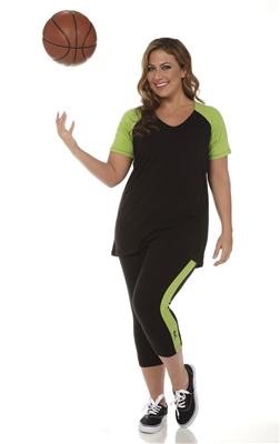 Combo Plus Size Baseball Shirt & Capri Pants Black with Apple Green Sleeves