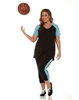 Combo Plus Size Baseball Shirt & Capri Pants Black with Turquoise Sleeves