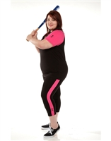 Combo Plus Size Baseball Shirt & Capri Pants Black with Crayon Pink Sleeves