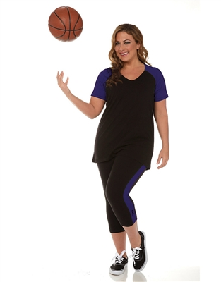 Combo Plus Size Baseball Shirt & Capri Pants Black with Purple Sleeves