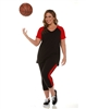 Combo Plus Size Baseball Shirt & Capri Pants Black with Red Sleeves