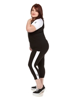 Combo Plus Size Baseball Shirt & Capri Pants Black with White Sleeves