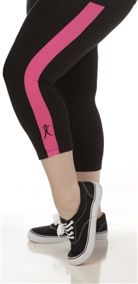 Plus Size Capri Pants - Black with Crayon Pink Stripes