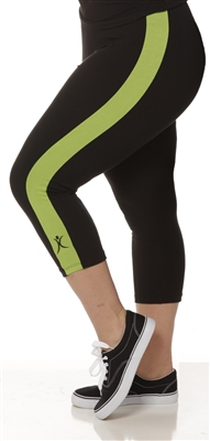 Plus Size Capri Pants - Black with Apple Green Stripes