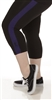 Plus Size Capri Pants - Black with Purple Stripes