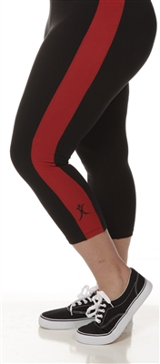 Plus Size Capri Pants - Black with Red Stripes