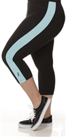 Plus Size Capri Pants - Black with Turquoise Stripes