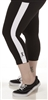 Plus Size Capri Pants - Black with White Stripes