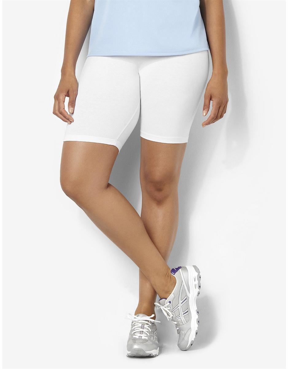 d5553e42d46e71 Plus Size Bike Shorts - White