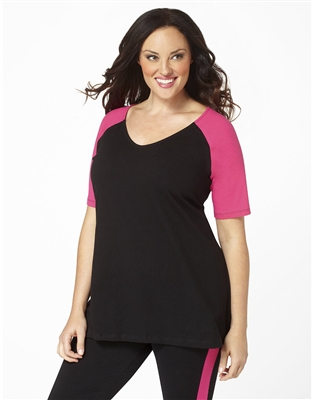 Plus Size Baseball Shirt - Black with Crayon Pink Sleeves