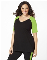 Plus Size Baseball Shirt - Black with Apple Green Sleeves