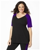 Plus Size Baseball Shirt - Black with Purple Sleeves