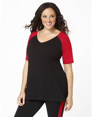 Plus Size Baseball Shirt - Black with Red Sleeves