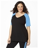 Plus Size Baseball Shirt - Black with Turquoise Sleeves