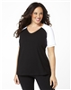 Plus Size Baseball Shirt - Black with White Sleeves